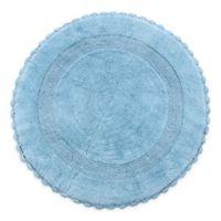 "Crochet Lace Border 36"" Round Reversible Bath Mat in Blue"