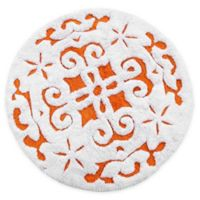 "Damask 36"" Round Bath Mat in Orange/White"