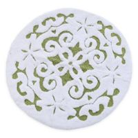 "Damask 36"" Round Bath Mat in Green/White"