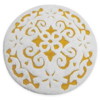 "Damask 36"" Round Bath Mat in Yellow/White"