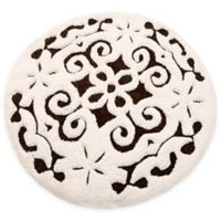 "Damask 36"" Round Bath Mat in Chocolate/Ivory"