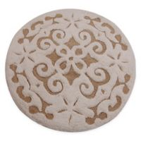 "Damask 36"" Round Bath Mat in Beige/Ivory"