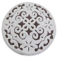 "Damask 36"" Round Bath Mat in Grey/White"