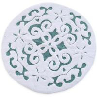 "Damask 36"" Round Bath Mat in Blue/White"
