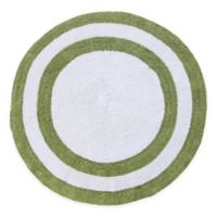 "Concentric Rings 36"" Round Reversible Bath Mat in Green/White"
