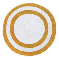 "Concentric Rings 36"" Round Reversible Bath Mat in Yellow/White"