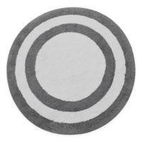 "Concentric Rings 36"" Round Reversible Bath Mat in Grey/White"