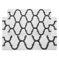 "2-Tone Geometric 2-Piece 24"" x 17"" and 34"" x 21"" Bath Mat Set in White/Grey"