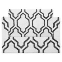 "2-Tone Quatrefoil 2-Piece 34"" x 21"" and 36"" x 24"" Bath Mat Set in White/Grey"