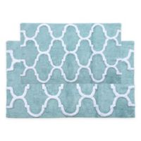 "2-Tone Geometric 2-Piece 34"" x 21"" and 36"" x 24"" Bath Mat Set in Blue/White"