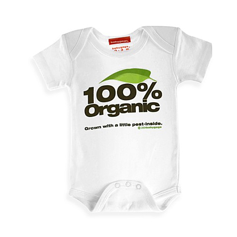 Silly Souls® 100% Organic Pest In-Side Size 0-3 months Bodysuit in White