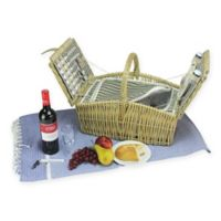 Northlight 15-Piece Insulated Picnic Basket Set in Grey/Natural