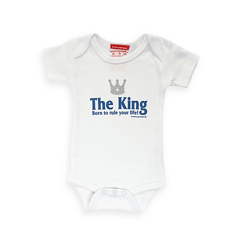 Silly Souls® The King: Born to Rule Your Life Size 12-18 months Bodysuit in White