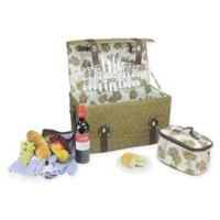 Northlight 25-Piece Floral Picnic Basket Set in Brown