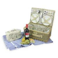 Northlight Willow 25-Piece Picnic Basket Set in Warm Grey/Natural