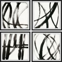 Marmont Hill Linear Expression 24-Inch Square Framed Quadriptych Wall Art (Set of 4)