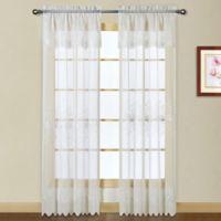 Madura Marianna 84-Inch Rod Pocket Semi-Sheer Window Curtain Panel in White