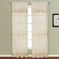 Madura Marianna 84-Inch Rod Pocket Semi-Sheer Window Curtain Panel in Natural