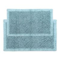 "Chenille Long Noodle 34"" x 21""/36"" x 24"" Bath Mat Set in Blue"