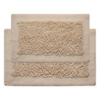 "Chenille Long Noodle 34"" x 21""/36"" x 24"" Bath Mat Set in Ivory"