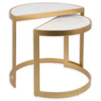 LumiSource™ Demi 2-Piece Nesting Tables Set in Gold/White