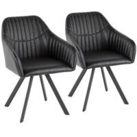 Lumisource® Faux Leather Upholstered Clubhouse Chairs in Black (Set of 2)