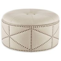 Madison Park Sonya Cocktail Storage Ottoman in Natural