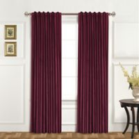 United Curtain Co. Dupioni Silk 95-Inch Rod Pocket Blackout Window Curtain Panel in Burgundy