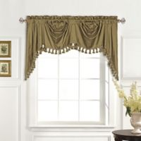 United Curtain Co. Dupioni Silk Rod Pocket Blackout Austrian Valance in Taupe