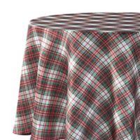 Holiday Tartan Plaid 70-Inch Round Tablecloth