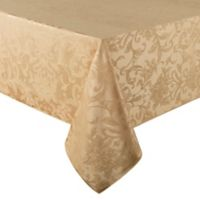 Holiday Cheer Damask 60-Inch x 120-Inch Oblong Tablecloth with Umbrella Hole in Gold