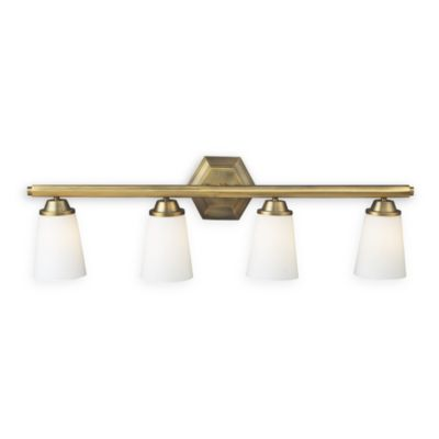Vanity Light Antique Brass : Winthrop Antique Brass 4-Light Vanity Fixture - Bed Bath & Beyond