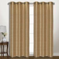 Vintage 84-Inch Grommet Room Darkening Window Curtain Panel Pair in Gold