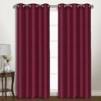 Vintage 84-Inch Grommet Room Darkening Window Curtain Panel Pair in Burgundy