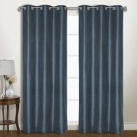 Vintage 63-Inch Grommet Room Darkening Window Curtain Panel Pair in Blue