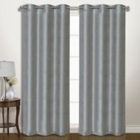 Vintage 84-Inch Grommet Room Darkening Window Curtain Panel Pair in Silver