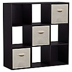 Homestar 9-Cube Bookcase with 3 Fabric Bins in Black/Brown
