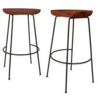 "Carolina Forge Wood/metal Diya 30.5"" Bar Stools in Chestnut/black (Set of 2)"