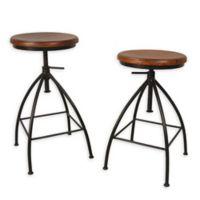 "Carolina Forge Wood/metal Swivel Advik 24"" Bar Stools in Chestnut/black (Set of 2)"