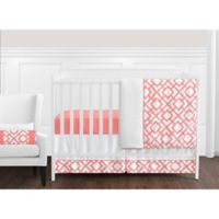 Sweet Jojo Designs Mod Diamond 11-Piece Crib Bedding Set in White/Coral