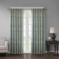 Georgia Print 63-Inch Room Darkening Grommet Window Curtain Panel in Aqua