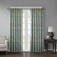 Georgia Print 84-Inch Room Darkening Grommet Window Curtain Panel in Aqua