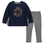 Nautica Size 3-6M 2-Piece Floral Top and Striped Pant Set in Navy