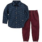 Nautica® Size 6-9M 2-Piece Anchor Print Shirt and Pant Set in Navy/Burgundy