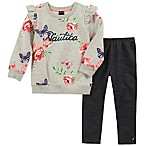 Nautica® Size 3-6M 2-Piece Long Sleeve Floral Top and Legging Set in Grey