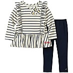 Nautica® Size 3-6M 2-Piece Long Sleeve Ruffle Stripe Top and Pant Set in Cream