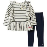 Nautica® Size 6-9M 2-Piece Long Sleeve Ruffle Stripe Top and Pant Set in Cream