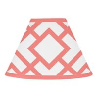 Sweet Jojo Designs Mod Diamond Lamp Shade in White/Coral