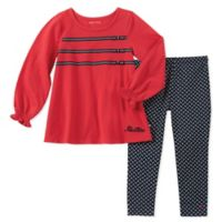 Nautica® Size 6-9M 2-Piece Long Sleeve Ribbon Bow Top and Geo Pant Set in Red