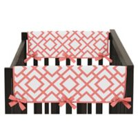 Sweet Jojo Designs Mod Diamond Reversible 2-Piece Short Crib Rail Cover in White/Coral